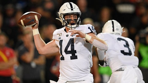 <p>               Penn State quarterback Sean Clifford passes during the first half of an NCAA college football game against Maryland, Friday, Sept. 27, 2019, in College Park, Md. (AP Photo/Nick Wass)             </p>
