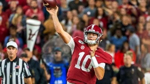 <p>               Alabama quarterback Mac Jones (10) throws the ball against Arkansas during the first half of an NCAA college football game, Saturday, Oct. 26, 2019, in Tuscaloosa, Ala. (AP Photo/Vasha Hunt)             </p>