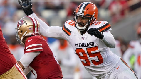 <p>               Cleveland Browns defensive end Myles Garrett (95) sacks San Francisco 49ers quarterback Jimmy Garoppolo during the first half of an NFL football game in Santa Clara, Calif., Monday, Oct. 7, 2019. (AP Photo/Tony Avelar)             </p>