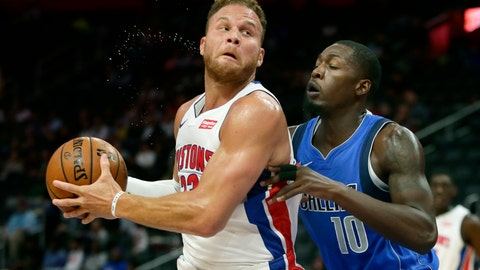 <p>               Detroit Pistons forward Blake Griffin (23) goes to the basket against Dallas Mavericks forward Dorian Finney-Smith (10) during the first half of an NBA preseason basketball game Wednesday, Oct. 9, 2019, in Detroit. (AP Photo/Duane Burleson)             </p>