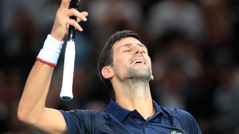 <p>               Serbia's Novak Djokovic reacts after he defeats Britain's Kyle Edmund 7-6, 6-1 during the 3rd round match of the Paris Masters tennis tournament in Paris, France, Thursday, Oct. 31, 2019. (AP Photo/Michel Euler)             </p>
