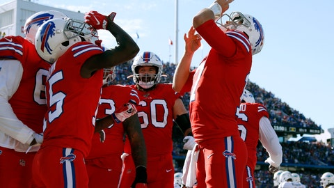 <p>               Buffalo Bills quarterback Josh Allen, right, celebrates his touchdown pass to wide receiver John Brown, left, in the second half of an NFL football game Miami Dolphins, Sunday, Oct. 20, 2019, in Orchard Park, N.Y. (AP Photo/Ron Schwane)             </p>