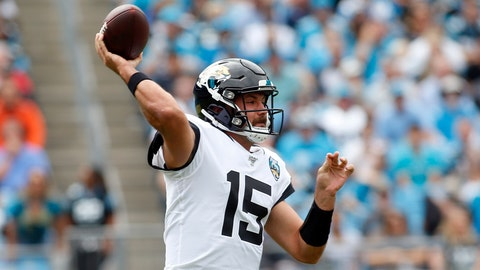 <p>               Jacksonville Jaguars quarterback Gardner Minshew (15) passes against the Carolina Panthers during the first half of an NFL football game in Charlotte, N.C., Sunday, Oct. 6, 2019. (AP Photo/Brian Blanco)             </p>