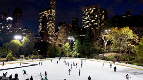 <p>               In this Thursday, Nov. 3 photo, skaters take to the ice at Wollman Rink in New York's Central Park. Skaters may notice something missing from the park's two ice rinks this winter — President Donald Trump's name, a spokeswoman for the city Parks Department, said in a statement Wednesday, Oct. 23, 2019. The Trump Organization still operates the rinks but has removed the Trump name from the outer boards, the skate rental counters and elsewhere. (AP Photo/Mark Lennihan)             </p>