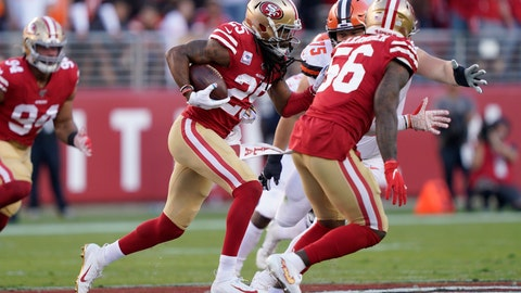 <p>               San Francisco 49ers cornerback Richard Sherman (25) returns an interception against the Cleveland Browns during the first half of an NFL football game in Santa Clara, Calif., Monday, Oct. 7, 2019. (AP Photo/Tony Avelar)             </p>
