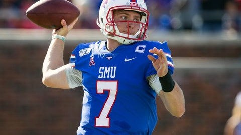 <p>               SMU quarterback Shane Buechele throws the ball during the second quarter of an NCAA college football game against Temple in Dallas, Saturday, Oct. 19, 2019. (AP Photo/Sam Hodde)             </p>