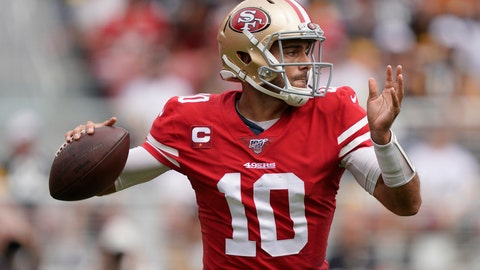 <p>               San Francisco 49ers quarterback Jimmy Garoppolo (10) passes against the Pittsburgh Steelers during the first half of an NFL football game in Santa Clara, Calif., Sunday, Sept. 22, 2019. (AP Photo/Tony Avelar)             </p>