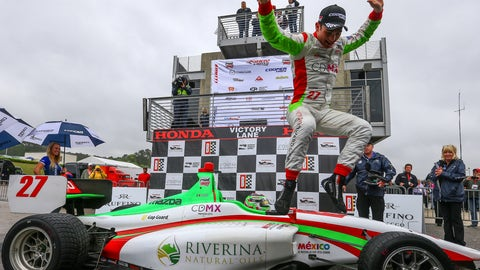 "<p>               FILE - In this April 22, 2018 file photo, Mexico's Patricio ""Pato"" O'Ward celebrates winning the Indy Lights race #2 during the Honda Indy Grand Prix of Alabama at Barber Motorsports Park, in Birmingham, Ala. James Hinchcliffe has been released from the new Arrow McLaren SP Racing team, two people with direct knowledge of the situation told The Associated Press, despite repeated public assurances that the popular Canadian was not leaving the organization once McLaren came aboard. Hinchcliffe learned Sunday he was being replaced by 2018 Indy Lights Champion Pato O'Ward and said his farewells at the team shop Monday, Oct. 28, 2019, the two people said. (AP Photo/Butch Dill, File)             </p>"