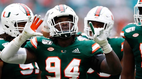 <p>               Miami defensive lineman Trevon Hill (94) celebrates a sack against Central Michigan quarterback David Moore (2) during the first half of an NCAA college football game, Saturday, Sept. 21, 2019, in Miami Gardens, Fla. (AP Photo/Brynn Anderson)             </p>