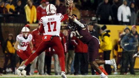 <p>               Minnesota linebacker Kamal Martin (21) sacks Nebraska quarterback Andrew Bunch (17) during the second half of an NCAA college football game Saturday, Oct. 12, 2019, in Minneapolis. (AP Photo/Stacy Bengs)             </p>