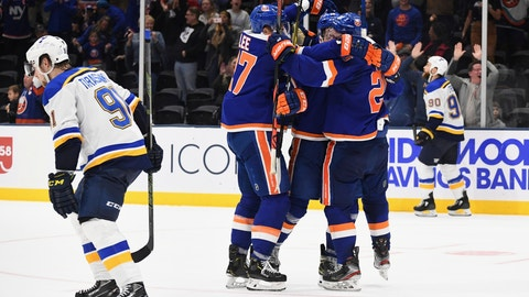 <p>               New York Islanders players celebrate their overtime goal in an NHL hockey game against the St. Louis Blues, Monday, Oct. 14, 2019, in Uniondale, N.Y. (AP Photo/Kathleen Malone-Van Dyke)             </p>