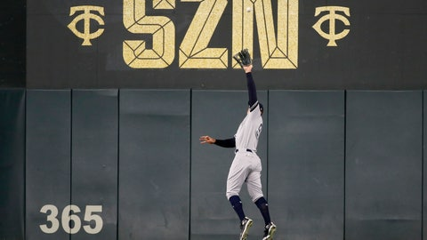 <p>               New York Yankees right fielder Aaron Judge catches a fly ball hit by Minnesota Twins' Miguel Sano during the sixth inning in Game 3 of a baseball American League Division Series, Monday, Oct. 7, 2019, in Minneapolis. (AP Photo/Bruce Kluckhohn)             </p>