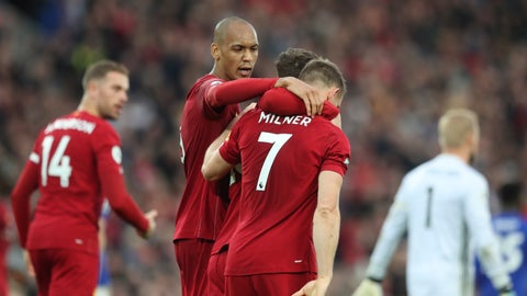 <p>               Liverpool's James Milner celebrates his wining goal during English Premier League soccer match between Liverpool and Leicester City in Anfield stadium in Liverpool, England, Saturday, Oct. 5, 2019. (AP Photo/Jon Super)             </p>