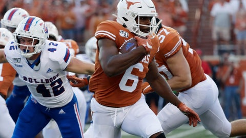 <p>               FILE - In this Saturday, Aug. 31, 2019 file photo, Texas wide receiver Devin Duvernay (6) during the first half of an NCAA college football game against Louisiana Tech in Austin, Texas. Texas senior wide receiver Devin Duvernay is having his best year after a position change has made him quarterback Sam Ehlinger's top target. Duvernay has 45 catches this season and his nine per game is best in the nation heading into No. 11 Texas' Saturday, Oct. 12, 2019 matchup against No. 6 Oklahoma. (AP Photo/Eric Gay, File)             </p>