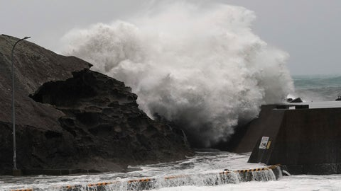 <p>               Surging waves hitting against the breakwater as Typhoon Hagibis approaches at a port in Kumano, Mie Prefecture, Japan Saturday, Oct. 12, 2019. (AP Photo/Toru Hanai)             </p>