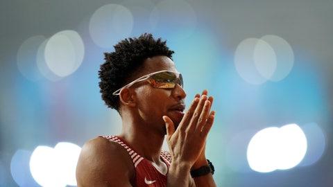 <p>               Abderrahman Samba, of Qatar, prepares for a men's 400m hurdles semifinal race at the World Athletics Championships in Doha, Qatar, Saturday, Sept. 28, 2019. (AP Photo/Petr David Josek)             </p>