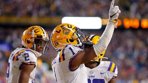 <p>               LSU wide receiver Ja'Marr Chase (1) celebrates his touchdown reception in the second half of an NCAA college football game against Florida in Baton Rouge, La., Saturday, Oct. 12, 2019. LSU won 42-28. (AP Photo/Gerald Herbert)             </p>