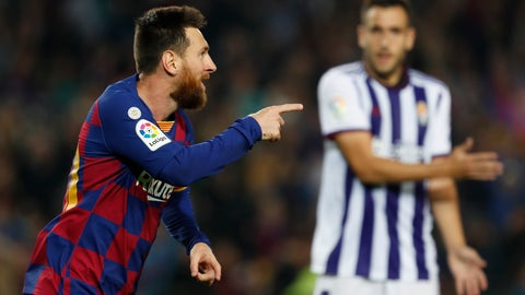 <p>               Barcelona's Lionel Messi celebrates his second goal during the Spanish La Liga soccer match between FC Barcelona and Valladolid CF at the Camp Nou stadium in Barcelona, Spain, Tuesday, Oct. 29, 2019. (AP Photo/Joan Monfort)             </p>