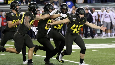 <p>               Oregon kicker Camden Lewis, right, begins the celebration after his game winning field goal against Washington State in an NCAA college football game Saturday, Oct. 26, 2019, in Eugene, Ore. (AP Photo/Chris Pietsch)             </p>