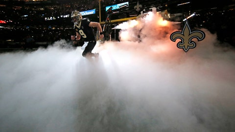 <p>               New Orleans Saints quarterback Drew Brees (9) runs onto the field during pre-game introductions, before an NFL football game against the Arizona Cardinals in New Orleans, Sunday, Oct. 27, 2019. Brees is returning after missing five games due to a thumb injury and subsequent surgery. (AP Photo/Gerald Herbert)             </p>