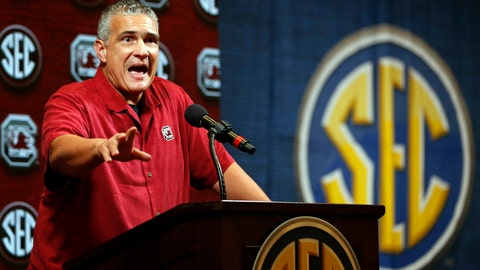 <p>               South Carolina head coach Frank Martin speaks during the Southeastern Conference NCAA college basketball media day, Wednesday, Oct. 16, 2019, in Birmingham, Ala. (AP Photo/Butch Dill)             </p>