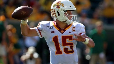 <p>               Iowa State quarterback Brock Purdy looks downfield before throwing against Baylor in the first half of an NCAA college football game, Saturday, Sept. 28, 2019, in Waco, Texas. (Lauryn Amy/Waco Tribune-Herald via AP)             </p>