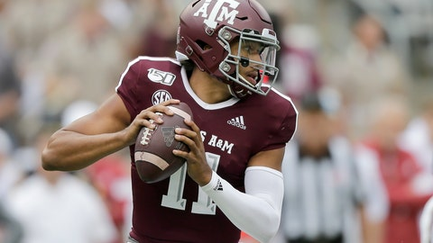 <p>               Texas A&M quarterback Kellen Mond (11) looks to pass against Alabama during the first quarter of an NCAA college football game, Saturday, Oct. 12, 2019, in College Station, Texas. (AP Photo/Sam Craft)             </p>