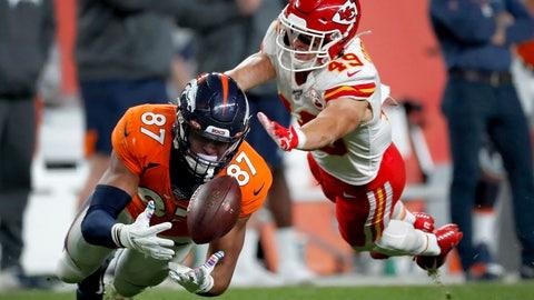 <p>               Denver Broncos tight end Noah Fant (87) can't make the catch as Kansas City Chiefs defensive back Daniel Sorensen (49) defends during the second half of an NFL football game, Thursday, Oct. 17, 2019, in Denver. (AP Photo/David Zalubowski)             </p>