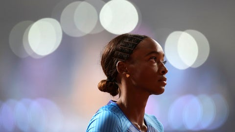 <p>               Dalilah Muhammad, of the United States prepares to race in a women's 400 meter hurdles semifinal at the World Athletics Championships in Doha, Qatar, Wednesday, Oct. 2, 2019. (AP Photo/Petr David Josek)             </p>