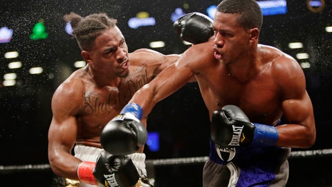 <p>               FILE - In this March 3, 2018, file photo, Patrick Day, right, follows through on a right to Kyrone Davis during the fourth round of a WBC super welterweight championship boxing match in New York. Day was taken to a hospital after getting viciously knocked out in the 10th round by Charles Conwell on Saturday, Oct. 12, 2019. (AP Photo/Frank Franklin II, File)             </p>
