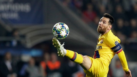 <p>               Barcelona's Lionel Messi kicks the ball during the Champions League group F soccer match between Slavia Praha and FC Barcelona at the Sinobo stadium in Prague, Czech Republic, Wednesday, Oct. 23, 2019. (AP Photo/Petr David Josek)             </p>