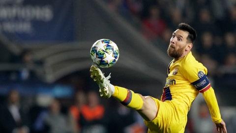 <p>               Barcelona's Lionel Messi kicks the ball during the Champions League group F soccer match between Slavia Praha and FC Barcelona at the Sinobo stadium in Prague, Czech Republic, Wednesday, Oct. 23, 2019. (AP Photo/Petr David Josek)             </p>