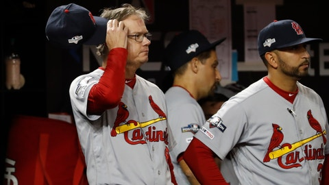 <p>               St. Louis Cardinals manager Mike Shildt scratches his head during the eighth inning of Game 3 of the baseball National League Championship Series against the Washington Nationals Monday, Oct. 14, 2019, in Washington. (AP Photo/Jeff Roberson)             </p>