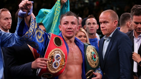 <p>               Gennadiy Golovkin raises his arm after defeating Sergiy Derevyanchenko by decision in their IBF middleweight championship title bout at Madison Square Garden in New York on Saturday, Oct. 5, 2019. (AP Photo/Rich Schultz)             </p>