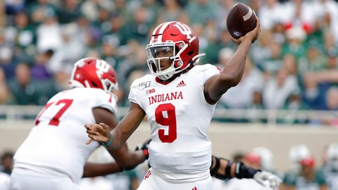 <p>               Indiana quarterback Michael Penix (9) throws a pass against Michigan State during the first quarter of an NCAA college football game, Saturday, Sept. 28, 2019, in East Lansing, Mich. (AP Photo/Al Goldis)             </p>