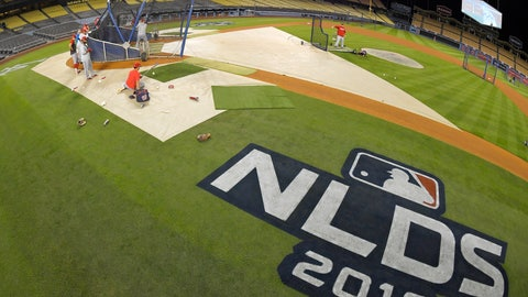 <p>               Members of the Washington Nationals practice for Game 1 of the NLDS baseball game against the Los Angeles Dodgers, Wednesday, Oct. 2, 2019, in Los Angeles. (AP Photo/Mark J. Terrill)             </p>