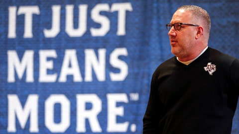 <p>               FILE - In this Wednesday, Oct. 16, 2019, file photo, Texas A&M head coach Buzz Williams speaks during the Southeastern Conference NCAA college basketball media day in Birmingham, Ala. (AP Photo/Butch Dill, File)             </p>
