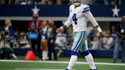 <p>               Dallas Cowboys quarterback Dak Prescott (4) walks off the field after throwing an interception caught by Green Bay Packers' Chandon Sullivan in the first half of an NFL football game in Arlington, Texas, Sunday, Oct. 6, 2019. (AP Photo/Ron Jenkins)             </p>