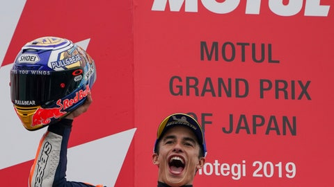 <p>               Spain's MotoGP rider Marc Marquez celebrates after winning the MotoGP Japanese Motorcycle Grand Prix at the Twin Ring Motegi circuit in Motegi, north of Tokyo, Sunday, Oct. 20, 2019. (AP Photo/Christopher Jue)             </p>