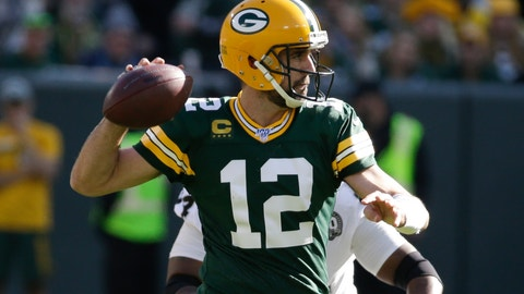 <p>               Green Bay Packers' Aaron Rodgers throws during the second half of an NFL football game against the Oakland Raiders Sunday, Oct. 20, 2019, in Green Bay, Wis. (AP Photo/Mike Roemer)             </p>