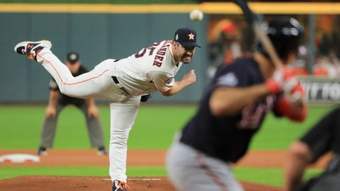 <p>               Houston Astros starting pitcher Justin Verlander throws against the Washington Nationals during the first inning of Game 6 of the baseball World Series Tuesday, Oct. 29, 2019, in Houston. (AP Photo/Mike Ehrmann, Pool)             </p>