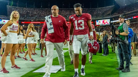 <p>               Alabama quarterback Tua Tagovailoa (13) walks off the field hurt against Tennessee during the first half of an NCAA college football game, Saturday, Oct. 19, 2019, in Tuscaloosa, Ala. (AP Photo/Vasha Hunt)             </p>