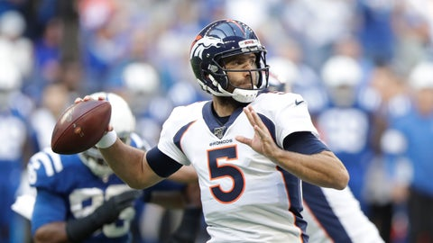 <p>               Denver Broncos quarterback Joe Flacco (5) throws during the first half of an NFL football game against the Indianapolis Colts, Sunday, Oct. 27, 2019, in Indianapolis. (AP Photo/Michael Conroy)             </p>