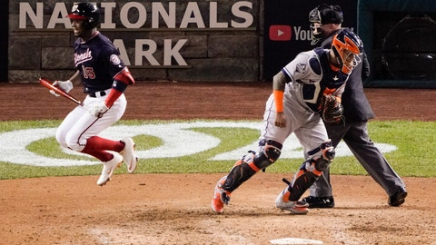 <p>               Washington Nationals' Victor Robles reacts after striking out during the seventh inning of Game 5 of the baseball World Series against the Houston Astros Sunday, Oct. 27, 2019, in Washington. (AP Photo/Alex Brandon)             </p>