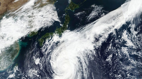 <p>               This Oct. 10, 2019, satellite photo taken by NASA-NOAA's Suomi NPP satellite shows typhoon Hagibis approaching Japan, center left.  Japan's weather agency is warning a powerful typhoon may bring torrential rains to central Japan over the weekend. (NASA Worldview, Earth Observing System Data and Information System (EOSDIS) via AP)             </p>
