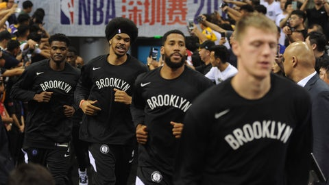 <p>               Brooklyn Nets' players arrive for a match against Los Angeles Lakers at the NBA China Games 2019 in Shenzhen in south China's Guangdong province on Saturday, Oct. 12, 2019. (Color China Photo via AP)             </p>