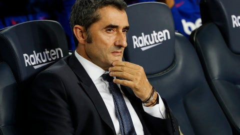 <p>               Barcelona head coach Ernesto Valverde sits prior Spanish La Liga soccer match between Barcelona and Sevilla at the Camp Nou stadium in Barcelona, Sunday, Oct. 6, 2019. Barcelona won 4-0. (AP Photo/Joan Monfort)             </p>