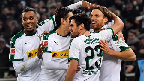 <p>               File---Picture taken Nov.25, 2018 shows Moenchengladbach's Michael Lang, right, is celebrated after scoring his side's second goal during the German Bundesliga soccer match between Borussia Moenchengladbach and Hannover 96 at the Borussia Park in Moenchengladbach, Germany, (AP Photo/Martin Meissner)             </p>