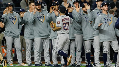 <p>               Houston Astros second baseman Jose Altuve celebrates with teammates after their 4-1 win against the New York Yankees in Game 3 of baseball's American League Championship Series Tuesday, Oct. 15, 2019, in New York. (AP Photo/Matt Slocum)             </p>