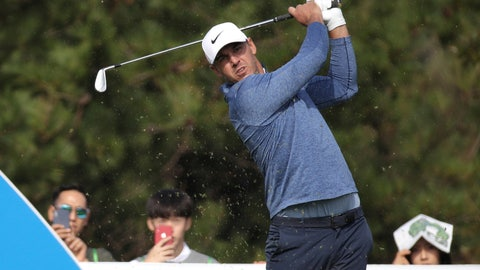 <p>               Brooks Koepka of the United States watches his shot on the 4th hole during the first round of the CJ Cup PGA golf tournament at Nine Bridges on Jeju Island, South Korea, Thursday, Oct. 17, 2019.(Park Ji-ho/Yonhap via AP)             </p>